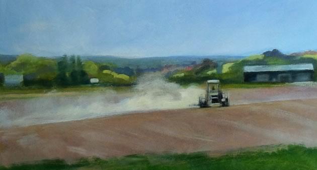 """Seeding, oil, chalk on paper, 12 x 20"""" ~ Diana Hillman"""