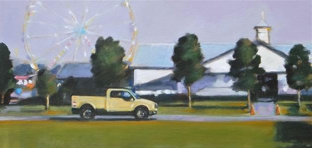 "Fall Fair, Yellow Truck, oil on canvas, 8 x 16"" ~ Diana Hillman"