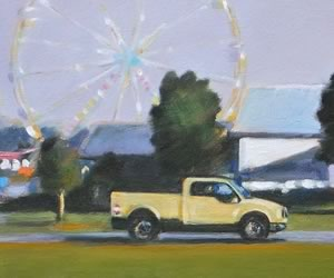 "Fall Fair, Yellow Truck, oil on canvas, 8 x 16"" ~ Diana Hillman"