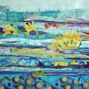 Janet Donaghey Water Lilies mixed media 19 x 26.5""