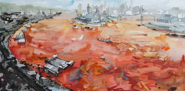 Peter Adams Red River Series #3 mixed media on canvas 30 x 60""