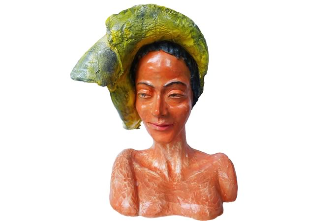 Rosalinde Baumgartner Fascinator sculpture clay, slips and clear glaze 28 x 23 x 18""