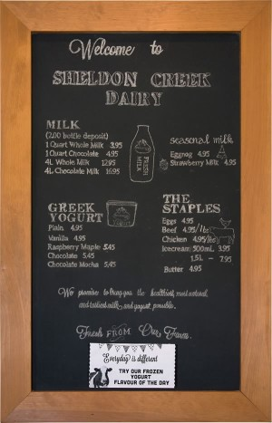 Sheldon Creek's whole milk is sold in traditional glass bottles with a plug of cream on top. They also sell chocolate milk, strawberry milk and eggnog seasonally, and yogurt. Photo by Pete Paterson.