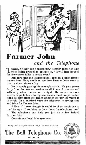 By 1915 the demand for telephones in urban centres had mostly been met, so the Bell Telephone Company turned its attention to the countryside.