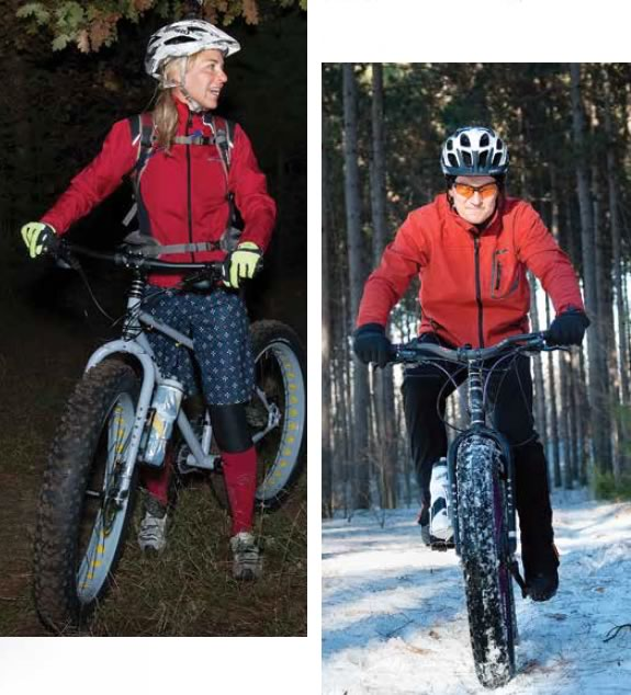Fall or winter, night or day, Team Van Go members Karen (left) and Johnny Yeaman are out biking on the local trails. Photo by Rosemary Hasner / Black Dog Creative Arts.