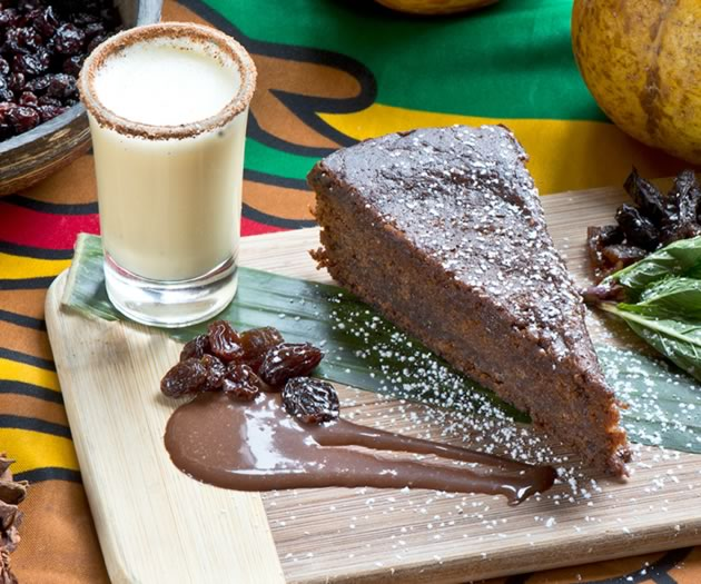 At Soulyve, the cake is served with a chocolate-Scotch bonnet sauce and toasted-nutmeg crème Anglaise. Photo by Pete Paterson.