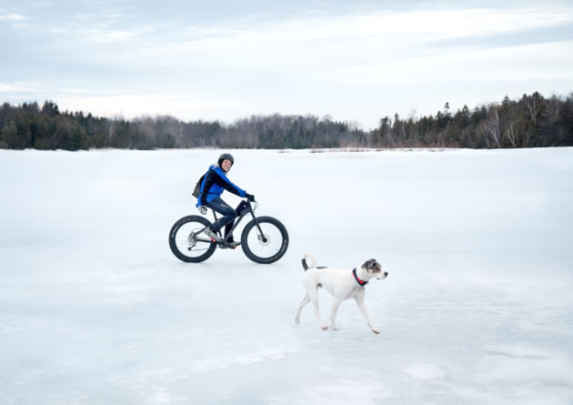 Fat bike enthusiast Rosemary Hasner takes a spin on the frozen ice of Island Lake with her dog Jackson. Photo by Janet Eagleson.