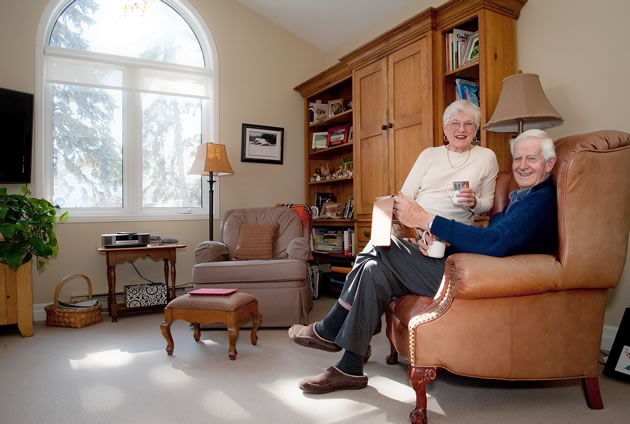 """Pat and Gary Vipond moved proactively from their Caledon acreage to an Orangeville bungalow: """"What a delight it is to be able to walk to meet friends at a local café,"""" says Pat. Photo by Rosemary Hasner / Black Dog Creative Arts."""
