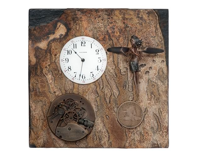 "Time Flies #5, mixed media with bronze faery, 4"" x 4"". Photo by Rosemary Hasner / Black Dog Creative Arts."