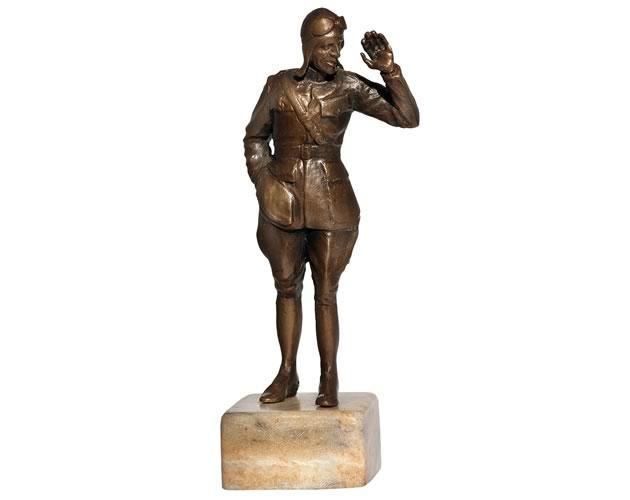 "Eddie Rickenbacker, bronze, 4"". Photo by Rosemary Hasner / Black Dog Creative Arts."