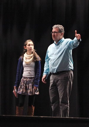 Jessica Bertrand, who plays Lucy, listens intently to advice from Mr. Sherry. Photo by Pete Paterson.