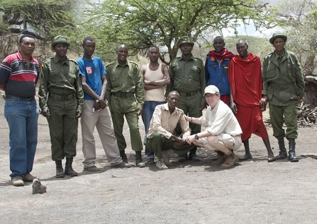 Greg with some of the Big Life rangers and community members who are working together to eliminate elephant poaching. Photo courtesy Greg Gubitz.
