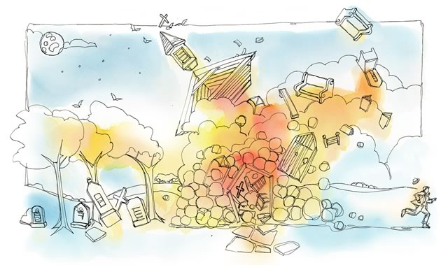 """""""Really?"""" I said. """"Nobody ever told me anything about blowing it up."""" Illustration by Shelagh Armstrong."""
