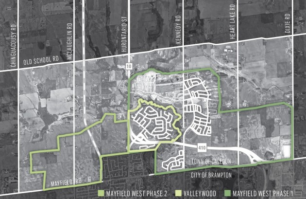 A map of the master-planned community of Caledon's Mayfield West. Valleywood and Phase 1 are built out. Phase 2 is approved for development. Click for larger image. Map courtesy Town of Caledon.