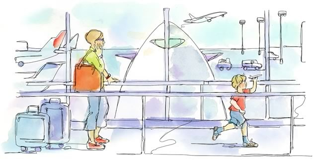 """My next trip was to California and was my son Adrian's first flight. He was about to turn three and his eyes twinkled as we read board books about """"Airplanes"""" and """"Airports"""" over and over. Illustration by Shelagh Armstrong."""