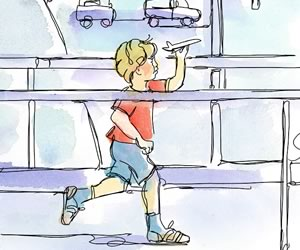 "My next trip was to California and was my son Adrian's first flight. He was about to turn three and his eyes twinkled as we read board books about ""Airplanes"" and ""Airports"" over and over. Illustration by Shelagh Armstrong."