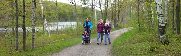 Take a stroller-friendly meander in the Terra Cotta Conservation Area. Photo courtesy Credit Valley Conservation.