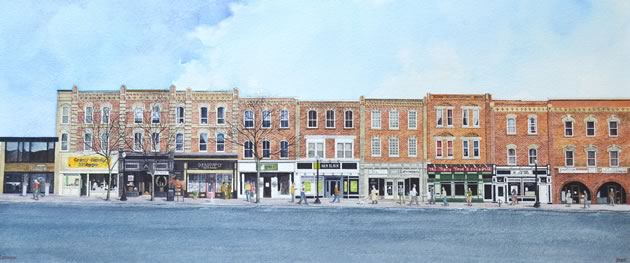 This Broadway streetscape was painted by Orangeville artist Alex Lennox. A few storefronts have been updated for this publication. The original triptych measures 8½ feet long and 16 inches high, and took the artist 450 hours to complete. It is currently exhibited for sale at Dragonfly Arts on Broadway.