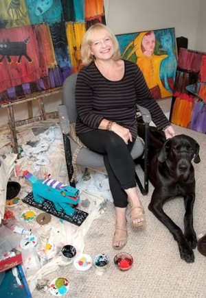 Gail Prussky and Satchmo in her Mono studio. Photo by Rosemary Hasner / Black Dog Creative Arts.