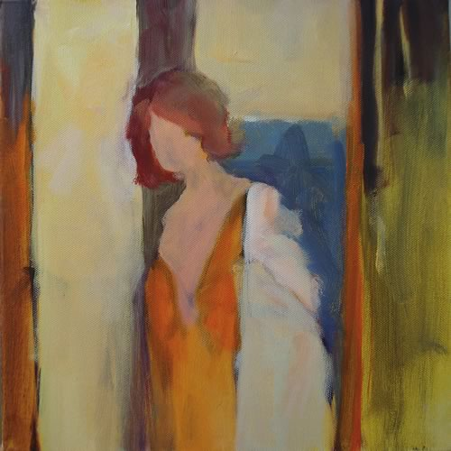 "Woman in Window, 12 x 12"" ~ John Adams"