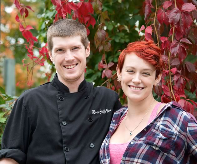 """I feel when you do dishes people know, you really have to do them well,"" says chef Jeffrey VandenHoek, shown here with his wife Kelsey, who was also a cook at Mono Cliffs until recently. Photo by Pete Paterson."