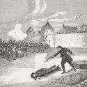 "Ontario's indignation was fired by this woodcut, ""The Tragedy at Fort Garry, March 4, 1870,"" an artist's conception of the Scott execution at Fort Garry. The anger was made even worse by rumours that Scott was buried alive and was heard screaming in the coffin at his burial. Library and Archives Canada, C-048776"