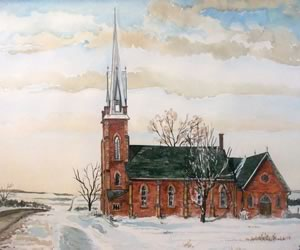 Claude Presbyterian Church in Caledon, by painter Z.R. Mech
