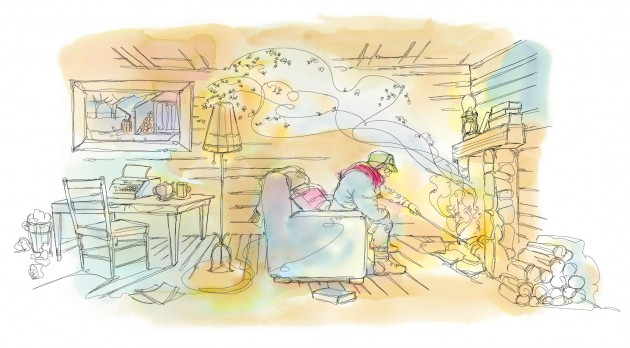 The conclusion I came to was that writing in a cabin in the woods is not a good idea unless Julie Christie is there and thinks you are adorable. Illustration by Shelagh Armstrong.