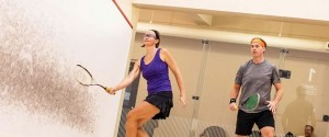 Squash pro Leah Desbarres (left), ranked for many years among Ontario's top ten players, gives relative newcomer Terry Pritchard some tough competition on the court. Photo by James MacDonald.