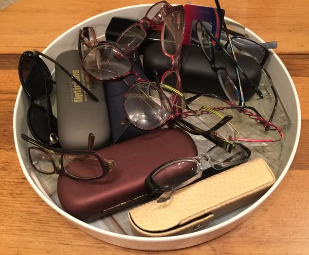 Tray of Reading Glasses