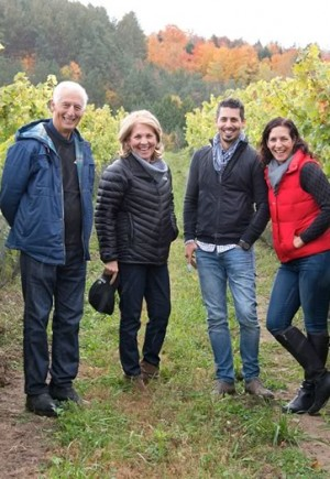 The Adamo family, Mario, Nancy, John Paul and Julie in the vineyard. Lose your bearings for a moment and you'd swear you were in one of Europe's stunning wine regions.Photo by Pete Paterson.
