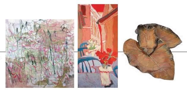 Must See! Creative Force – The Fire Within: Prelude, Linda Jenetti; Rome Alleyway Restaurant, Darlene Hassall; Leaf platters, Jackie Warmelink.