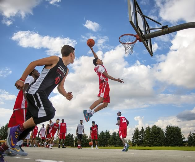 Jahvon Blair of Orangeville Prep heads to the hoop on the outdoor court at the Athlete Institute Basketball Academy. Photograph by James MacDonald