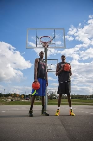Brothers Thon and Matur Maker at the Athlete Institute Basketball Academy near Orangeville. Thon is considered a lock to play in the NBA and his younger brother may soon follow. Photo by James MacDonald.