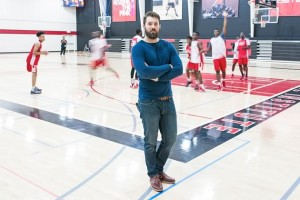 Athlete Institute president Jesse Tipping on the court where he grew up, as the high school players practise. Photo by James MacDonald.