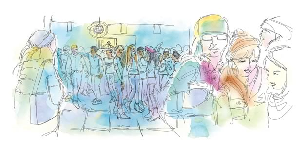 I felt nervous walking into the dance, but not for the same reason I had in the past. Illustration by Shelagh Armstrong.
