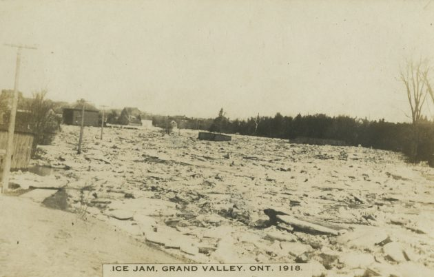 Ice Jam - Grand Valley, Ontario 1918. Dufferin County Museum and Archives P-3838-007.