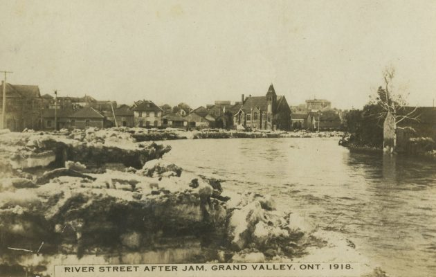 Before (and even after) the Luther dam was built, Grand Valley was accustomed to annual spring flooding, but some years were worse than others. Although the village escaped much of the damage its neighbours experienced in the great flood of 1929, the flood of 1918, shown here, made for one of the bad years. Dufferin County Museum and Archives P-3841-007.