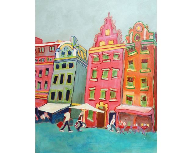 """Market Square, acrylic, 20"""" x 16"""" ~ by Darlene Hassall"""