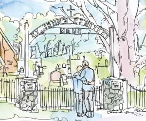 My brother's ashes will be buried this summer in a tiny, pastoral cemetery on the 7th Line of Mono. If you drive by it, you will see two Lee pillars supporting the gate. Illustration by Shelagh Armstrong.