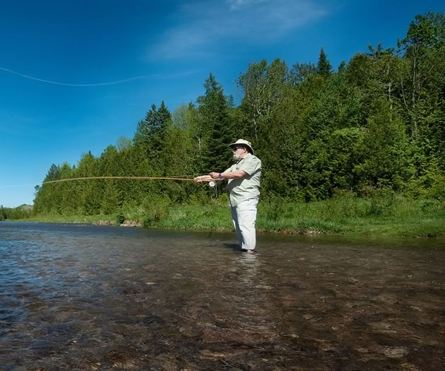 Writer Tony Reynolds on a recent fly fishing outing to his boyhood haunt at Pine River Provincial Fishing Area off River Road in Mulmur. Photo by Rosemary Hasner / Black Dog Creative Arts.