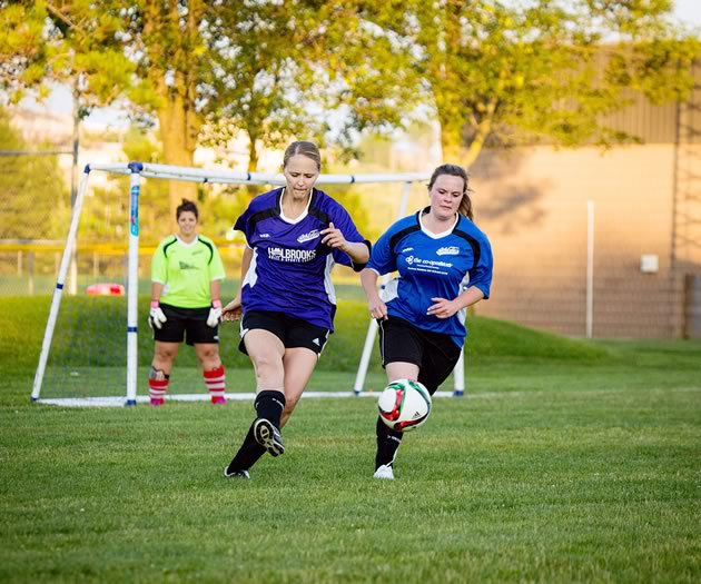 Members of the Orangeville Athletic Sports and Social Club women's league play weekly at Rotary Park throughout the summer. Photo by Erin Fitzgibbon.