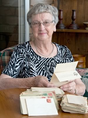Betty Ward, the youngest of Charles Thomas's five children (b.1933) is the keeper of his diaries, letters and war memorabilia. Photo by Pete Paterson.