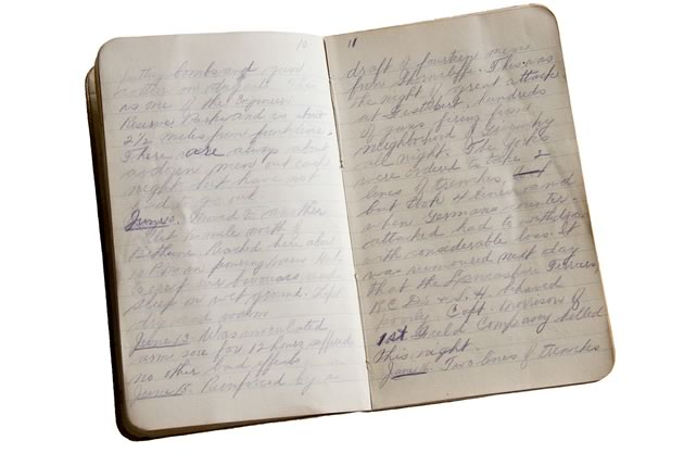 One of the wartime diaries of Charles Ernest Thomas. Photo by Pete Paterson.