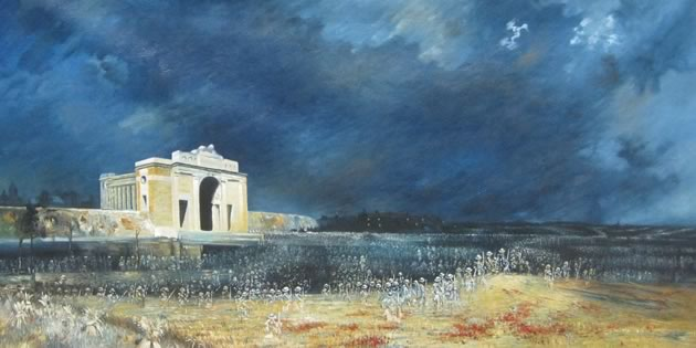 The 1927 painting Menin Gate at Midnight by Australian artist Will Longstaff portrays the eerie resurrection of the missing World War I soldiers of Ypres to whom the Belgian war memorial is dedicated. Photo credit COMMONS.WIKIMEDIA .ORG