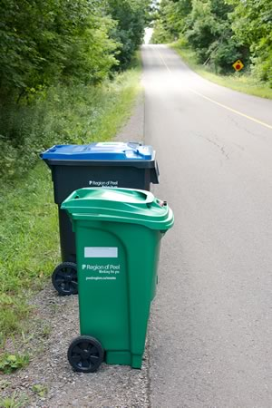 The Region of Peel introduced new garbage, blue and green bins in January. Photo by Pete Paterson.
