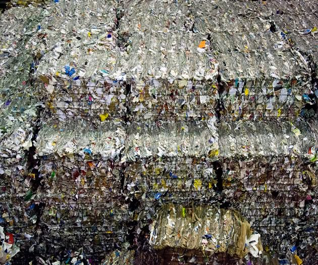 Hundreds of truckloads of baled recycling materials are shipped out of the Peel Integrated Material Recovery Facility each week to industries who use them in manufacturing. Photo by Pete Paterson.