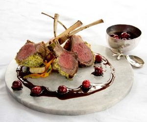 Aria's lamb chops are served with sour cherry preserves. Photo by Pete Paterson. Styling Jane Fellowes.