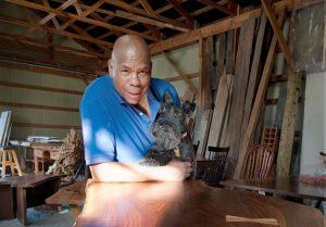 Hillsburgh furniture maker Hailey Livingstone and his sidekick MacDuff. Photo by Rosemary Hasner / Black Dog Creative Arts.