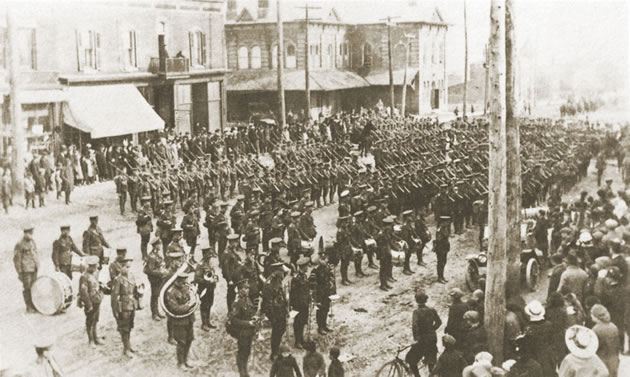 World War I: The 164th Battalion lines up on Broadway, Orangeville. From Into The High County by Adelaide Leitch.